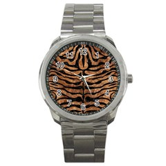 Skin2 Black Marble & Brown Stone (r) Sport Metal Watch by trendistuff