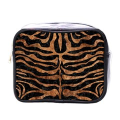 Skin2 Black Marble & Brown Stone Mini Toiletries Bag (one Side) by trendistuff