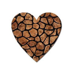 Skin1 Black Marble & Brown Stone Magnet (heart) by trendistuff