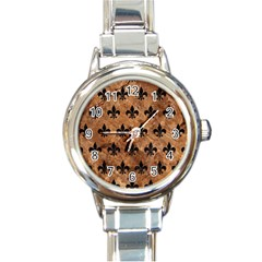 Royal1 Black Marble & Brown Stone Round Italian Charm Watch by trendistuff