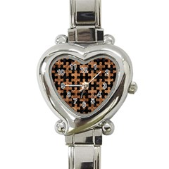 Puzzle1 Black Marble & Brown Stone Heart Italian Charm Watch by trendistuff