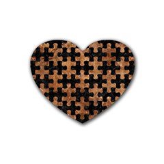 Puzzle1 Black Marble & Brown Stone Rubber Coaster (heart) by trendistuff