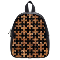 Puzzle1 Black Marble & Brown Stone School Bag (small) by trendistuff