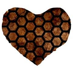 Hexagon2 Black Marble & Brown Stone (r) Large 19  Premium Flano Heart Shape Cushion by trendistuff
