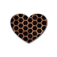 Hexagon2 Black Marble & Brown Stone Rubber Coaster (heart) by trendistuff