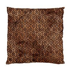 Hexagon1 Black Marble & Brown Stone (r) Standard Cushion Case (one Side) by trendistuff