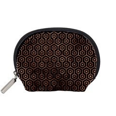Hexagon1 Black Marble & Brown Stone Accessory Pouch (small) by trendistuff