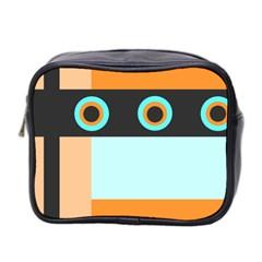 Orange, Aqua, Black Spots And Stripes Mini Toiletries Bag 2 Side by theunrulyartist