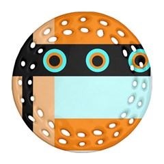 Orange, Aqua, Black Spots And Stripes Ornament (round Filigree) by theunrulyartist