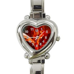 Red Abstract Pattern Texture Heart Italian Charm Watch by Nexatart