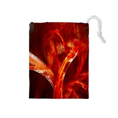 Red Abstract Pattern Texture Drawstring Pouches (medium)  by Nexatart