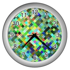 Pixel Pattern A Completely Seamless Background Design Wall Clocks (silver)  by Nexatart