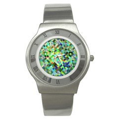 Pixel Pattern A Completely Seamless Background Design Stainless Steel Watch by Nexatart