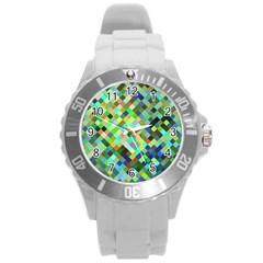 Pixel Pattern A Completely Seamless Background Design Round Plastic Sport Watch (l) by Nexatart