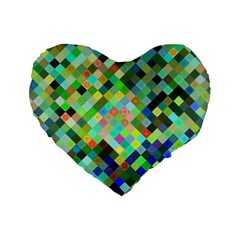 Pixel Pattern A Completely Seamless Background Design Standard 16  Premium Flano Heart Shape Cushions by Nexatart