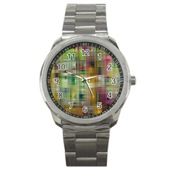 Woven Colorful Abstract Background Of A Tight Weave Pattern Sport Metal Watch by Nexatart