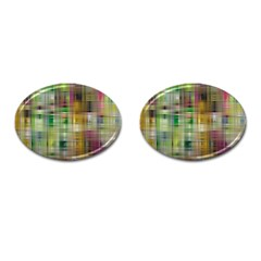 Woven Colorful Abstract Background Of A Tight Weave Pattern Cufflinks (oval) by Nexatart