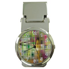 Woven Colorful Abstract Background Of A Tight Weave Pattern Money Clip Watches by Nexatart