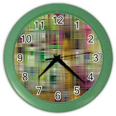 Woven Colorful Abstract Background Of A Tight Weave Pattern Color Wall Clocks