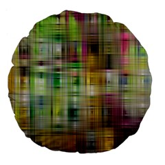 Woven Colorful Abstract Background Of A Tight Weave Pattern Large 18  Premium Flano Round Cushions by Nexatart