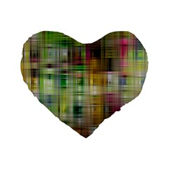 Woven Colorful Abstract Background Of A Tight Weave Pattern Standard 16  Premium Flano Heart Shape Cushions by Nexatart