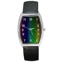 Digitally Created Halftone Dots Abstract Barrel Style Metal Watch by Nexatart