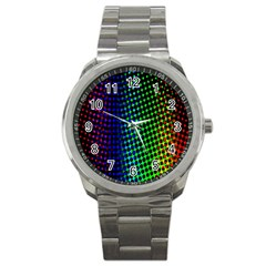 Digitally Created Halftone Dots Abstract Sport Metal Watch by Nexatart