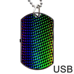 Digitally Created Halftone Dots Abstract Dog Tag Usb Flash (two Sides) by Nexatart