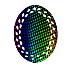 Digitally Created Halftone Dots Abstract Oval Filigree Ornament (two Sides) by Nexatart