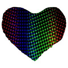 Digitally Created Halftone Dots Abstract Large 19  Premium Flano Heart Shape Cushions by Nexatart