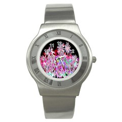 Fractal Fireworks Display Pattern Stainless Steel Watch by Nexatart