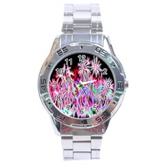 Fractal Fireworks Display Pattern Stainless Steel Analogue Watch by Nexatart