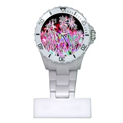 Fractal Fireworks Display Pattern Plastic Nurses Watch by Nexatart