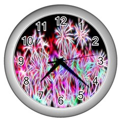 Fractal Fireworks Display Pattern Wall Clocks (silver)  by Nexatart