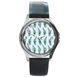 Background Of Beautiful Peacock Feathers Round Metal Watch