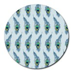 Background Of Beautiful Peacock Feathers Round Mousepads