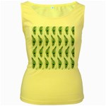 Background Of Beautiful Peacock Feathers Women s Yellow Tank Top
