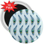 Background Of Beautiful Peacock Feathers 3  Magnets (10 pack)