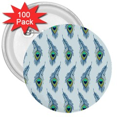 Background Of Beautiful Peacock Feathers 3  Buttons (100 Pack)  by Nexatart