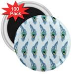 Background Of Beautiful Peacock Feathers 3  Magnets (100 pack)