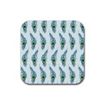 Background Of Beautiful Peacock Feathers Rubber Coaster (Square)