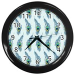 Background Of Beautiful Peacock Feathers Wall Clocks (Black)