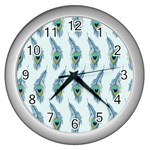 Background Of Beautiful Peacock Feathers Wall Clocks (Silver)