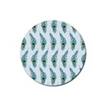 Background Of Beautiful Peacock Feathers Rubber Coaster (Round)