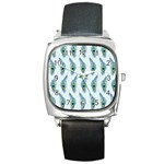 Background Of Beautiful Peacock Feathers Square Metal Watch