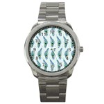 Background Of Beautiful Peacock Feathers Sport Metal Watch