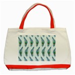 Background Of Beautiful Peacock Feathers Classic Tote Bag (Red)
