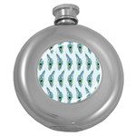 Background Of Beautiful Peacock Feathers Round Hip Flask (5 oz)