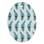Background Of Beautiful Peacock Feathers Oval Ornament (Two Sides)