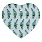 Background Of Beautiful Peacock Feathers Heart Ornament (Two Sides)
